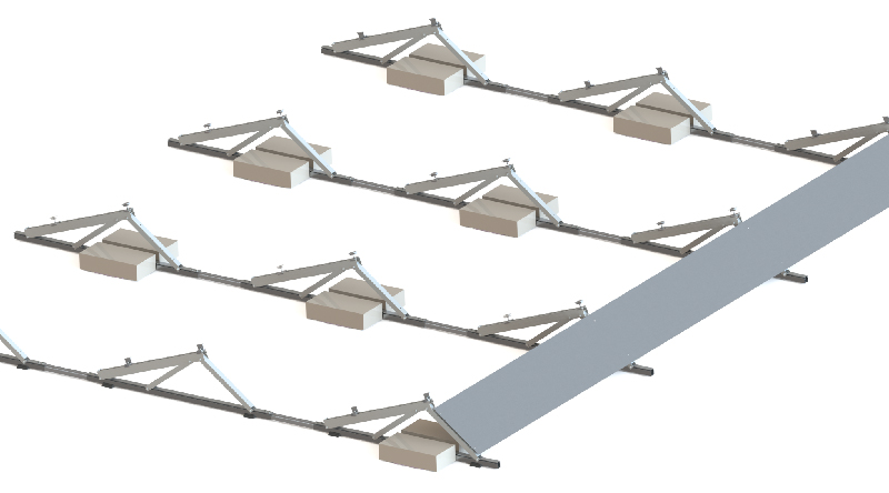 Flat roof ballast mounting