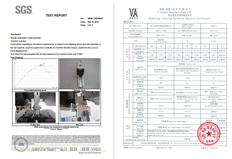 Alu test report for Mid clamp and end clamp AL6005-T5 Report